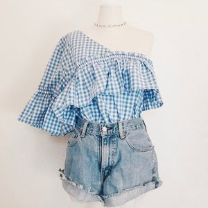 A.N.A | Blue and White Gingham One Shoulder Blouse